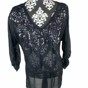 Forever21 Top Black Sequin Paisley Sheer V Neck